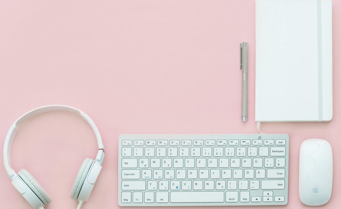 Workplace Office Desk Keyboard Mouse Headphones