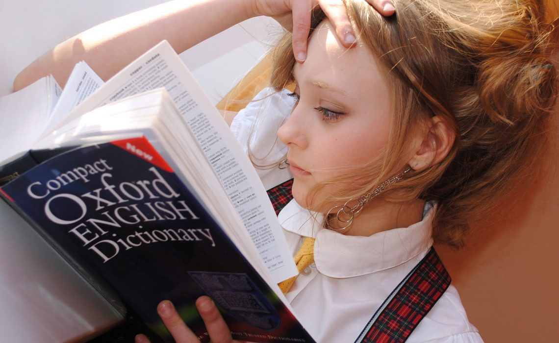 Girl English Dictionary Read Reading Studying